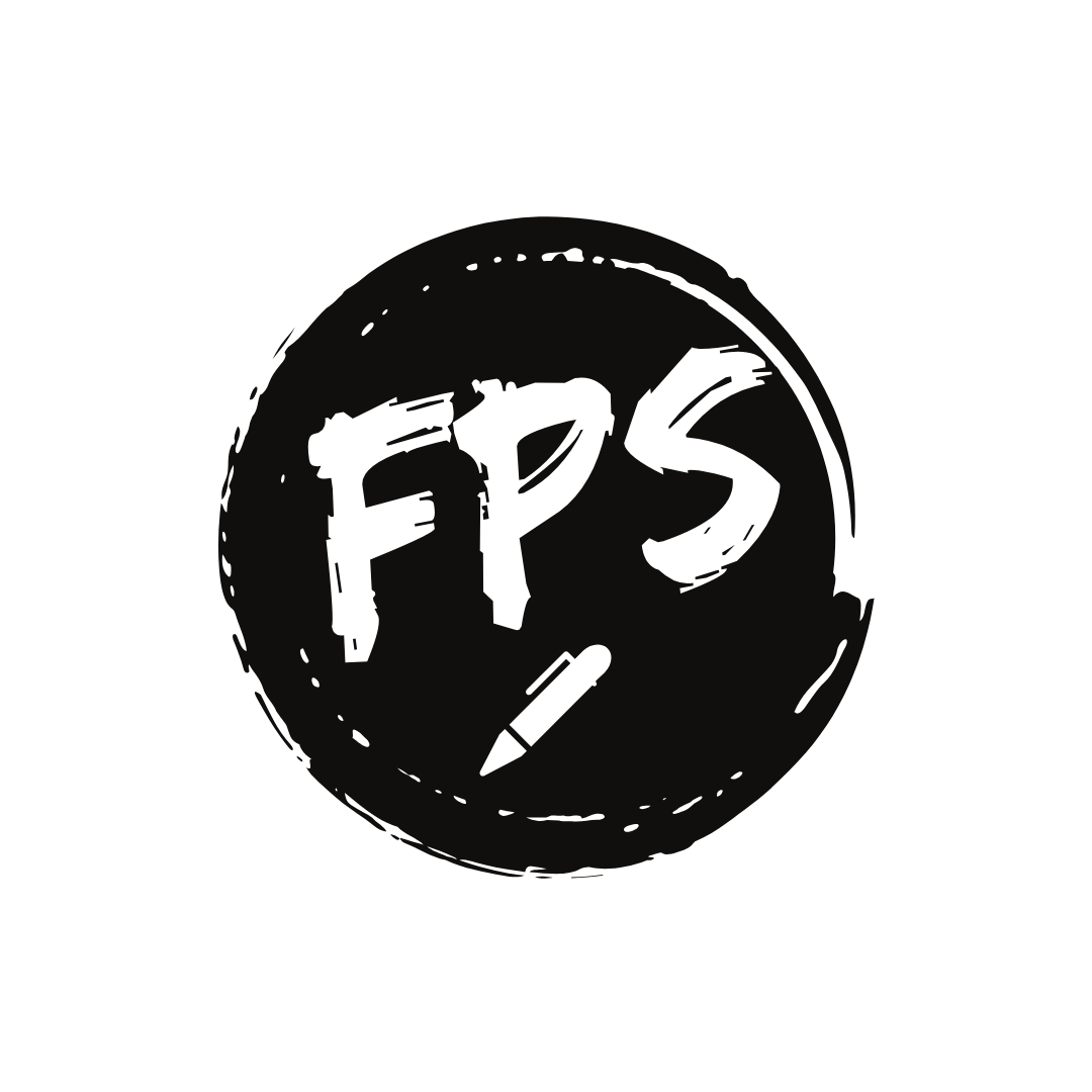 A round ink-splat logo with F-P-S and a graphic pen in the center.