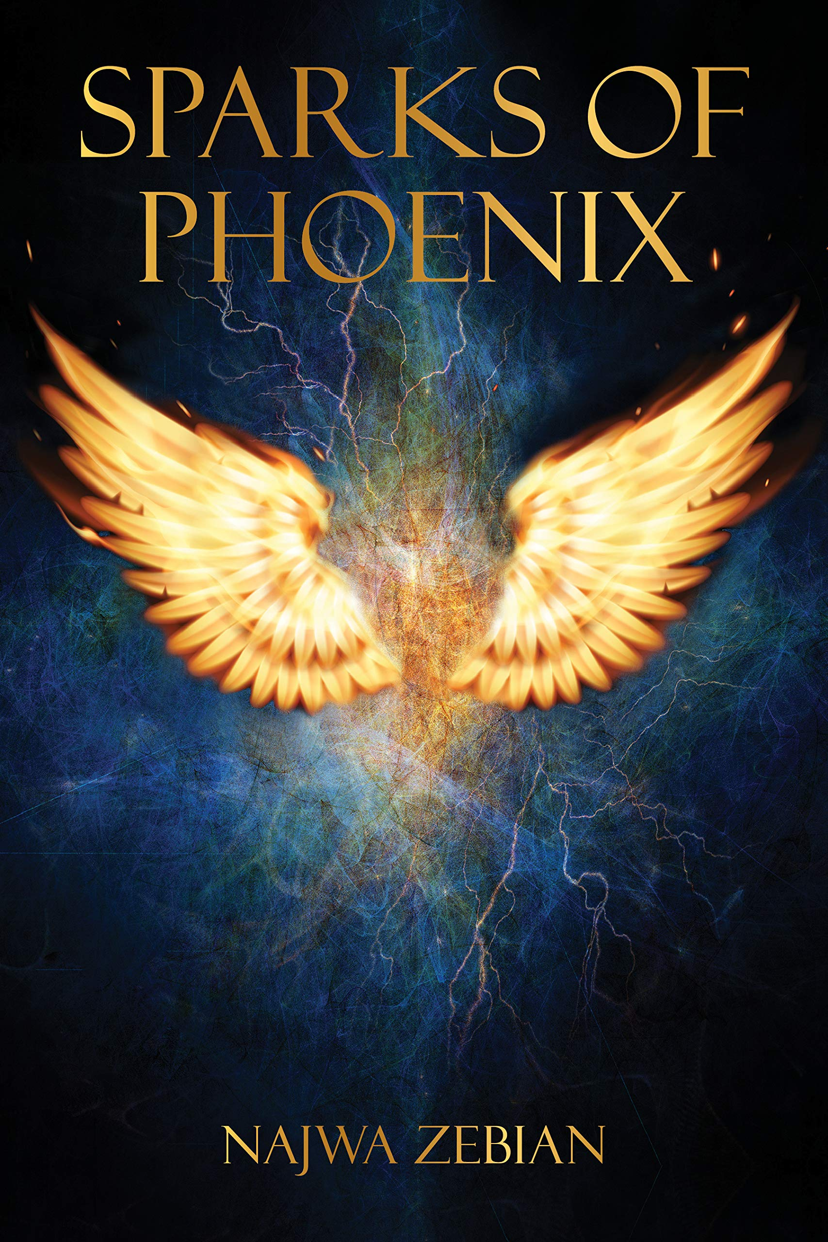 The cover of Sparks of Phoenix, a mostly smoky blue graphic with golden text and a lighter gold image of a phoenix.
